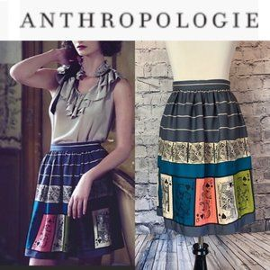 🆕 Anthropologie Pinochle Playing Cards Skirt